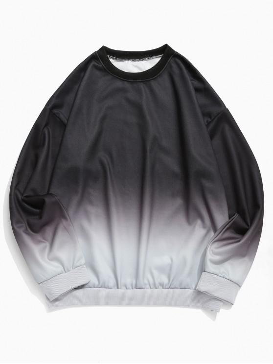 chic Ombre Print Crew Neck Sweatshirt - BLACK XL