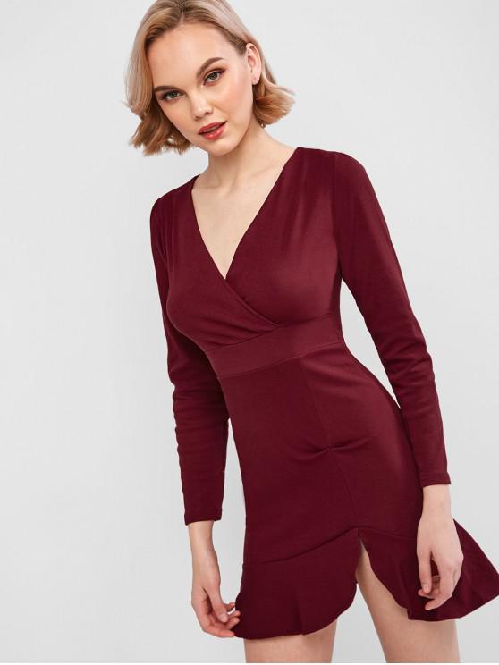 新澤西荷葉邊連衣裙冥衣 - 紅酒 M