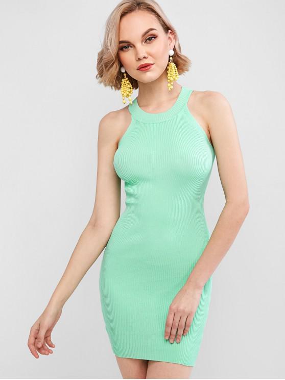 chic Crew Neck Knit Bodycon Dress - GREEN ONE SIZE