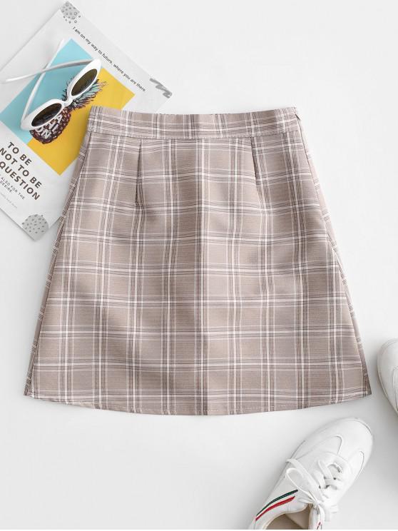 fashion Plaid Zip Fly A Line Skirt - GRAY M