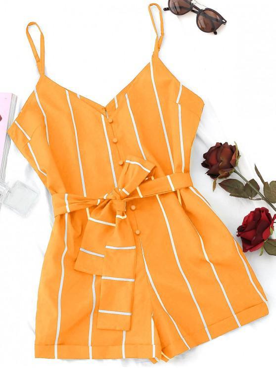 online Striped Belted Cami Romper - SANDY BROWN L