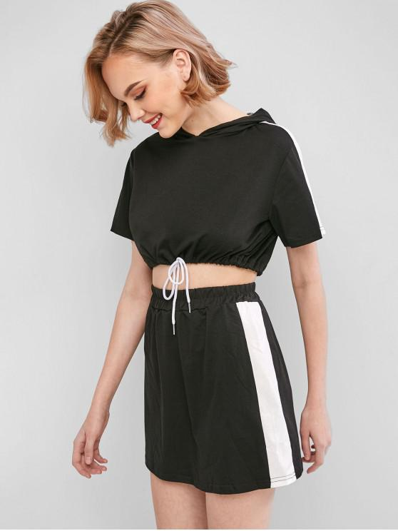 outfits Hooded Sideseam Two Piece Dress - BLACK M