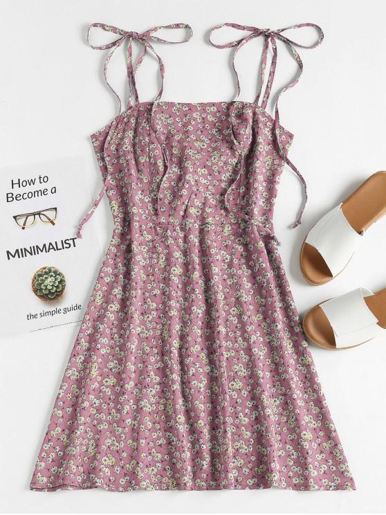 online ZAFUL Floral Tie Strap Apron Mini Sundress - PINK ROSE L