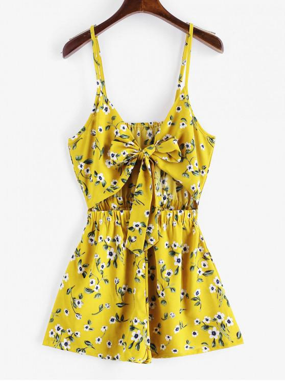 sale ZAFUL Floral Print Tie Front Cami Romper - YELLOW S