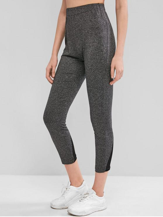women's High Waisted Heathered Mesh Panel Leggings - DARK GRAY M