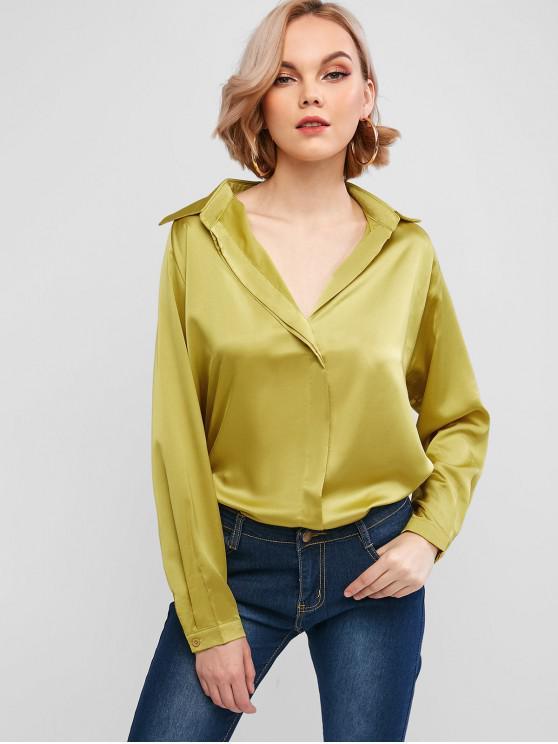 fashion Silky Raglan Sleeve Blouse - YELLOW XL