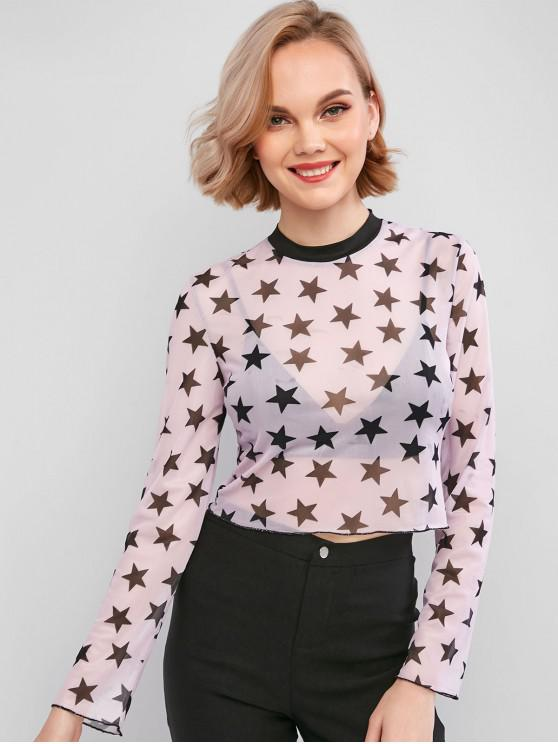 chic ZAFUL Mesh Star Graphic See Thru Tee - PURPLE M