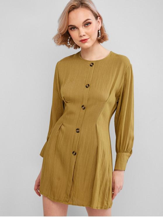 latest Mock Button Pleated-detail Tunic Dress - ORANGE GOLD L