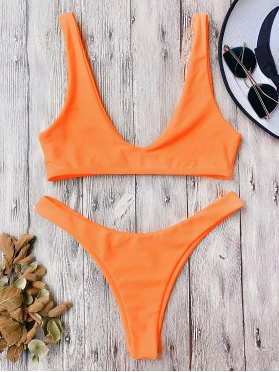 hot High Cut Bikini Set - ORANGE L