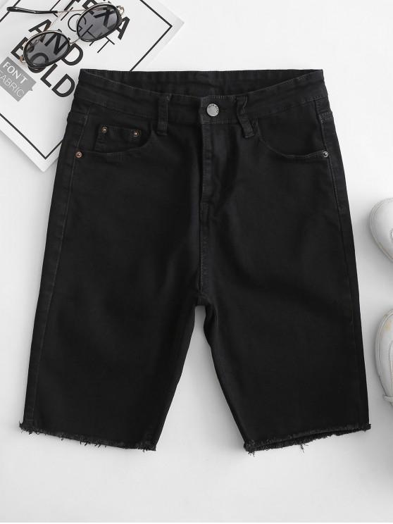 affordable Y2K Pocket Skinny Frayed Denim Shorts - BLACK L