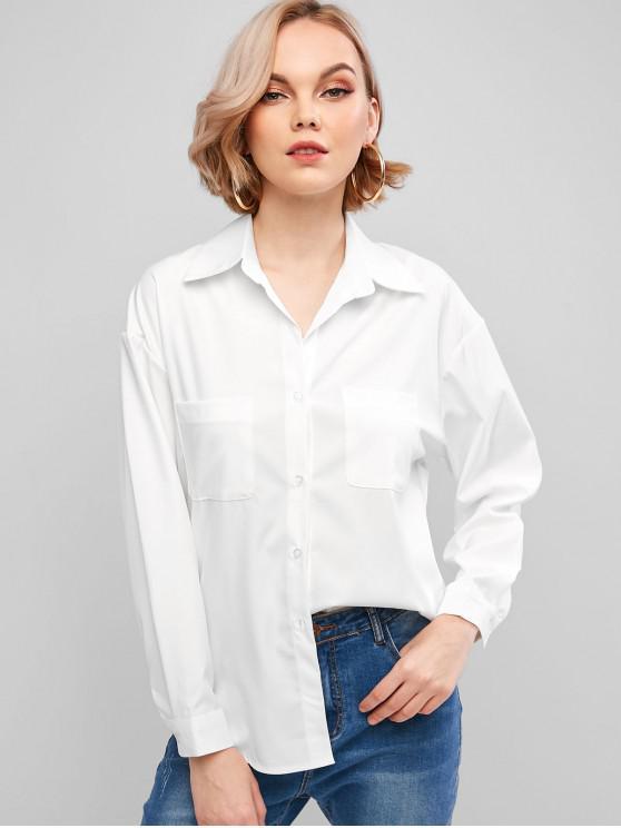 womens Basic Front Pocket Shirt - WHITE M