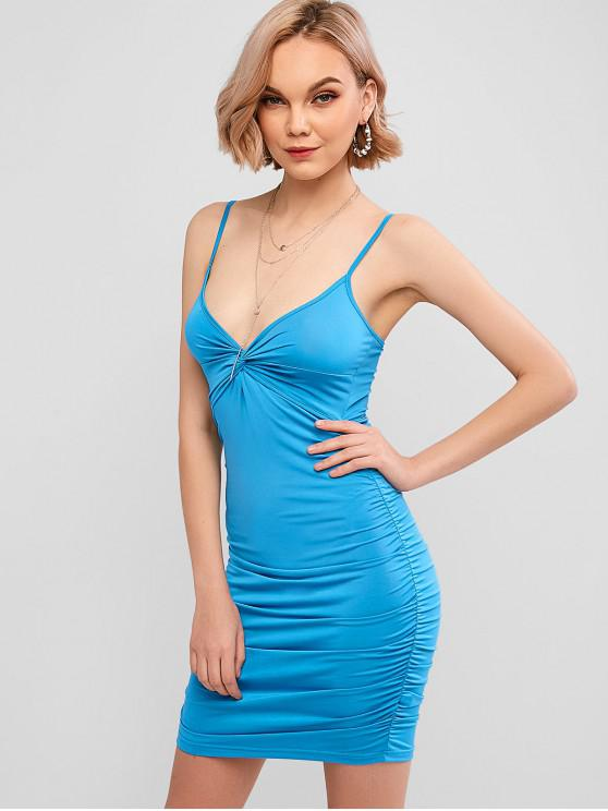 best Ruched Twisted Cami Bodycon Dress - BLUE XL
