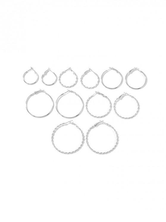 6 pieza simple aro del Conjunto - Plata