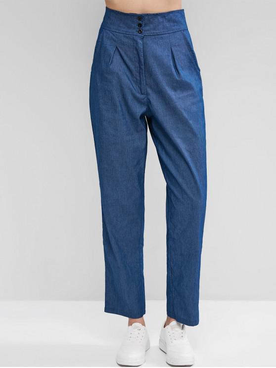 online High Waist Zipper Fly Chambray Pants - BLUE M