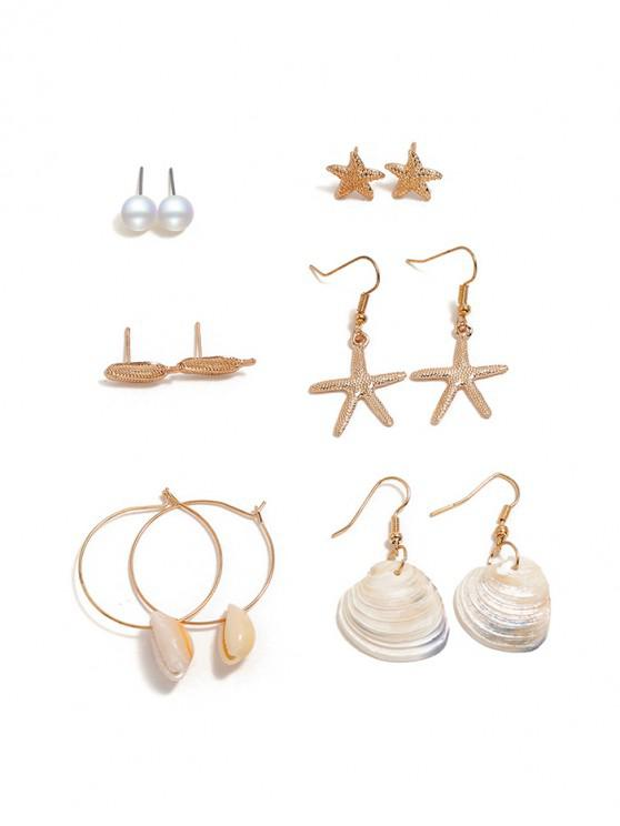 latest 6 Piece Conch Shell Starfish Drop Stud Earrings Set - GOLD