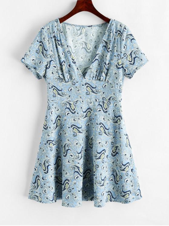 women's ZAFUL Paisley Plunging Mini Dress - POWDER BLUE L