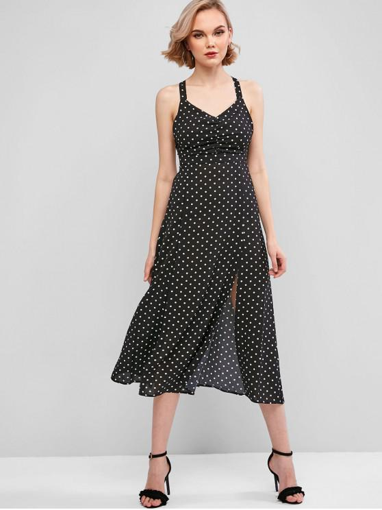 sale Polka Dot Ruched Slits Sleeveless Dress - BLACK L