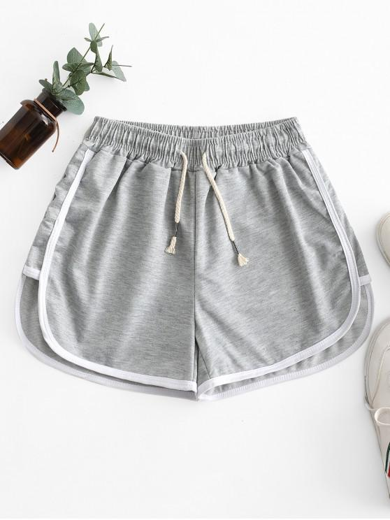 women Drawstring Waist Piping Dolphin Shorts - GRAY ONE SIZE