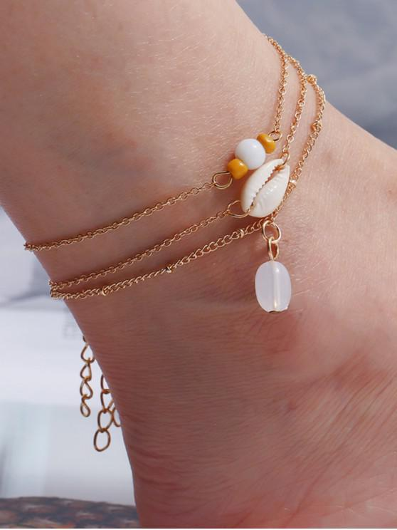 buy 3 Piece Shell Beaded Chain Anklet Set - GOLD