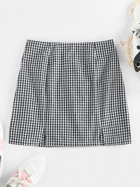 affordable ZAFUL Gingham Slit Zip Fly Skirt - BLACK M