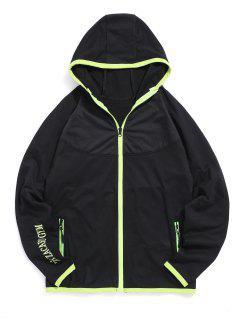 Colorblock Trim Raglan Sleeve Hooded Jacket - Black Xs