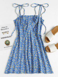 ZAFUL Floral Tie Strap Apron Mini Sundress - Blueberry Blue M