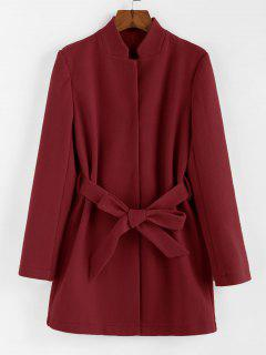 ZAFUL Stand-up Collar Belted Tunic Coat - Red Wine S