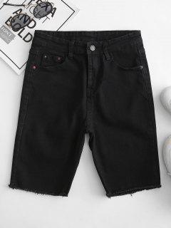 Pocket Skinny Frayed Denim Shorts - Black L