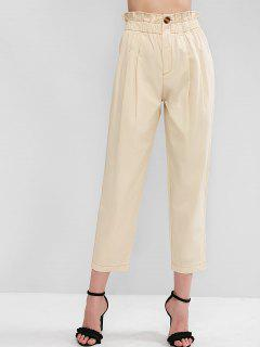 ZAFUL Zipper Fly Solid Paparbag Pants - Tan Brown M