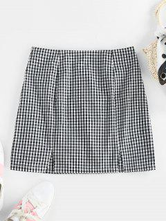 ZAFUL Gingham Slit Zip Fly Skirt - Black S