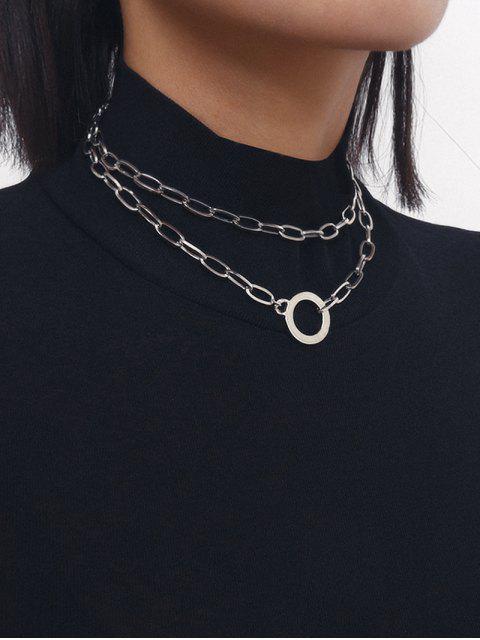 Двухслойное Ожерелье Цепочка Круг - Серебряный  Mobile