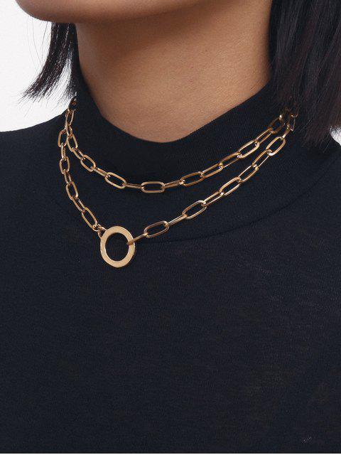 Двухслойное Ожерелье Цепочка Круг - Золотой  Mobile