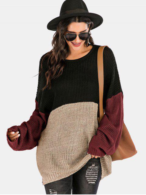 womens Colorblock Crew Neck Longline Sweater - MULTI-A L Mobile