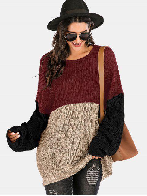 best Colorblock Crew Neck Longline Sweater - MULTI-B XL Mobile