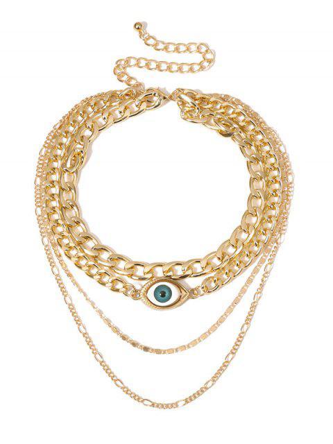Многослойное Ожерелье Форма глаза - Золотой  Mobile