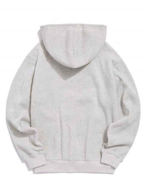 玫瑰印花袋鼠口袋休閒連帽衫 - 淺灰 XL Mobile