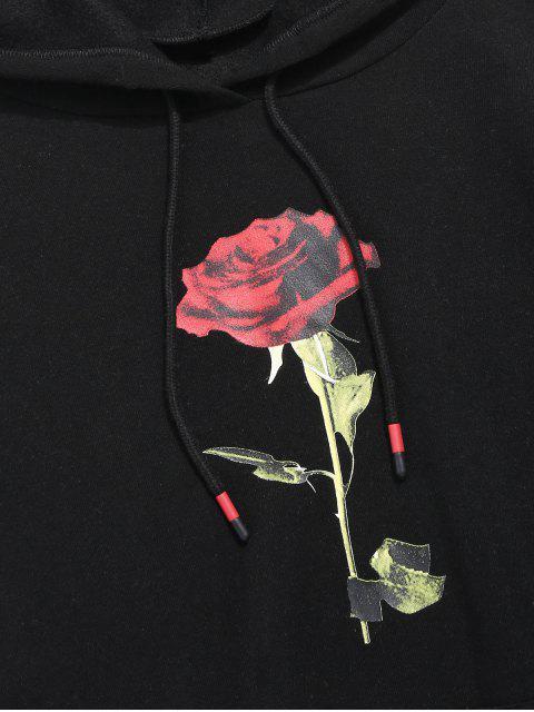 玫瑰印花袋鼠口袋休閒連帽衫 - 黑色 2XL Mobile