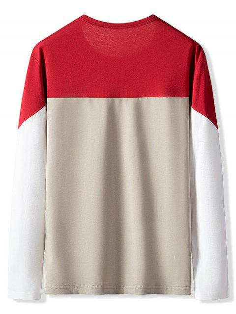 outfits Color Blocking Letter Pattern Casual T-shirt - LAVA RED XS Mobile