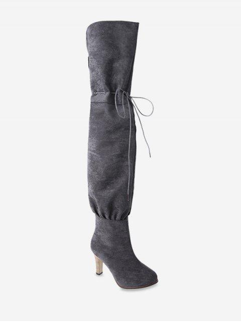 online Tie Up High Heel Suede Thigh High Boots - GRAY EU 43 Mobile