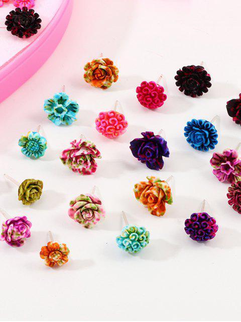 36пара Смола Цветок Серьги в сборе - Многоцветный  Mobile
