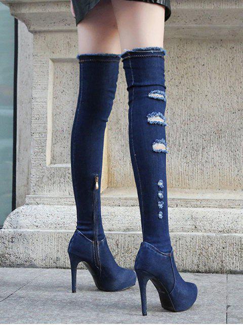 unique Super High Heel Ripped Denim Thigh High Boots - DEEP BLUE EU 38 Mobile