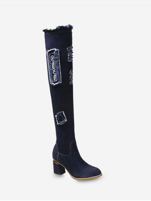 buy Letter Graphic Ripped Denim Over The Knee Boots - BLACK EU 40 Mobile