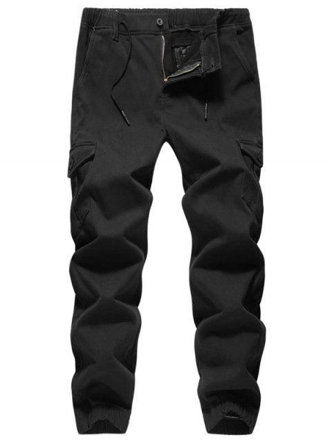 affordable Solid Color Zipper Casual Jogger Pants - BLACK 38 Mobile