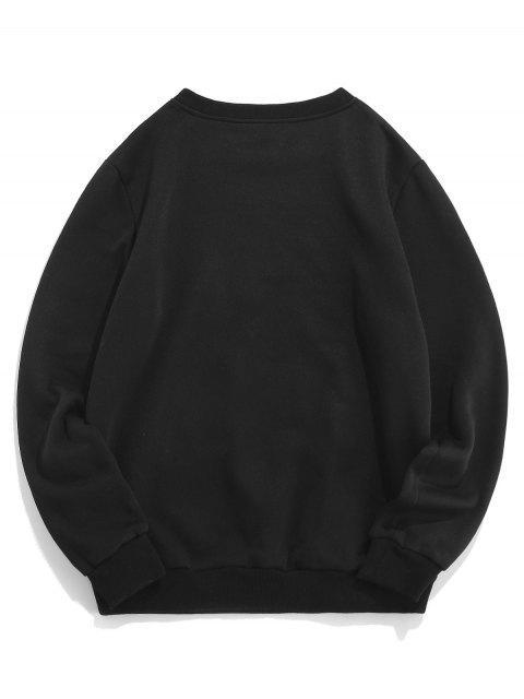 ZAFUL Sweat-Shirt Décontracté Motif Rose etLettre - Noir 2XL Mobile