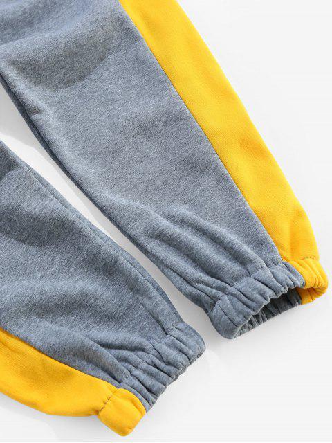new Color Blocking Elastic Waist Jogger Pants - YELLOW M Mobile