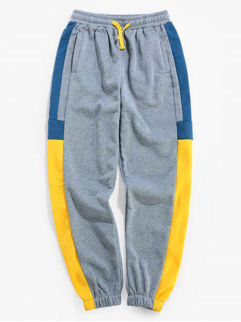 shop Color Blocking Elastic Waist Jogger Pants - YELLOW 3XL Mobile