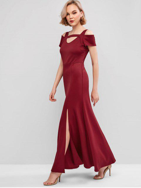 women's Cutout Slit Maxi Prom Dress - RED WINE L Mobile