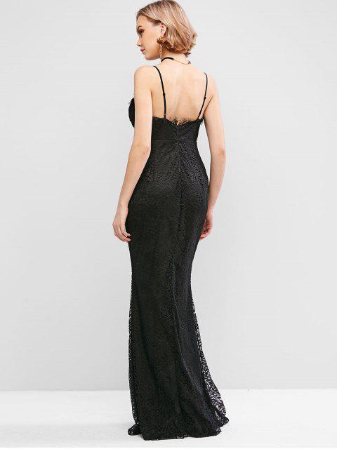 best Slit Floor Length Lace Mermaid Dress - BLACK L Mobile