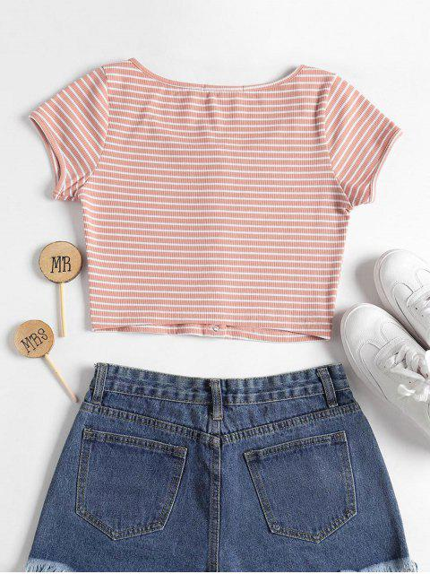 new Striped Ribbed Crop Top - PINK L Mobile