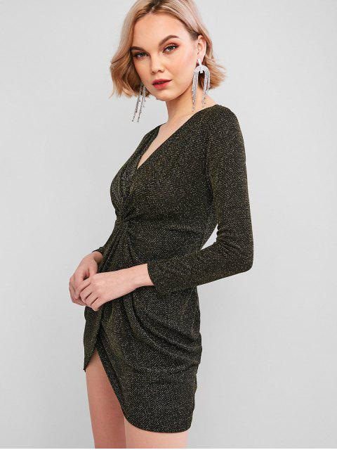 affordable ZAFUL Sparkly Metallic Thread Twisted Plunging Mini Dress - BLACK XL Mobile